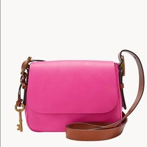 Fossil Pink Pebble Leather Crossbody Bag